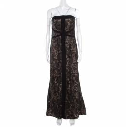 ML by Monique Lhuillier Black and Beige Floral Embroidered Tulle Strapless Gown L 186315