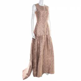 Max Mara Blush Pink Lurex Jacquard Patterned Sleeveless Gabriel Evening Gown S 186843