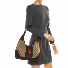 Gucci Brown GG Canvas and Nubuck Leather Jackie Web Hobo 193914