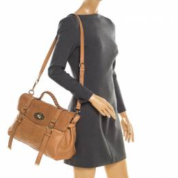 Mulberry Brown Python Embossed Leather Oversized Alexa Satchel 194063