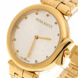 Nina Ricci Silver Gold-Plated Stainless Steel Classic Women's Wristwatch 37MM 195175