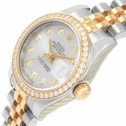 Rolex Silver 18K Yellow Gold and Stainless Steel Diamond Datejust Women's Wristwatch 26MM 195276