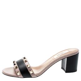 Valentino Black/Beige Leather Rockstud Trim Block Heel Slides Size 37.5 195948