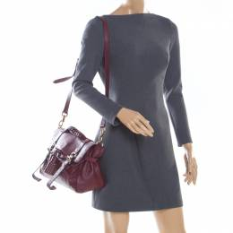 Mulberry Burgundy Leather Studded Tassel Alexa Satchel 198805