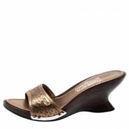 Salvatore Ferragamo Metallic Gold Python Leather Open Toe Wedge Slides Size 38.5 199087