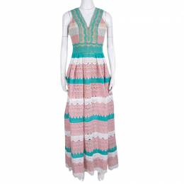 Zuhair Murad Multicolor Beadwork and Floral Lace Sleeveless Gathered Gown M 138392