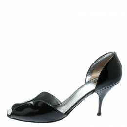 Prada Black Patent Leather Open Toe D'orsay Pumps Size 40 174979