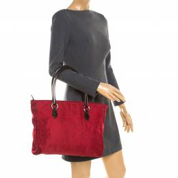 Etro Red Paisley Canvas Shopper Tote 180707