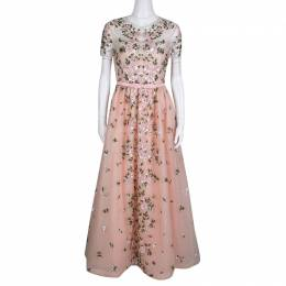 Valentino Pink Floral Embellished Belted Tulle Gown M 138400