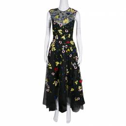 Monique Lhuillier Black Floral and Butterfly Applique High Low Tulle Gown S 138401