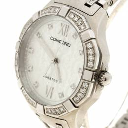 Concord Mother of Pearl Diamond & Stainless Steel Saratoga Women's Wristwatch 31MM 94982