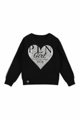 Черный свитшот с сердцем Philipp Plein Kids 2714136774