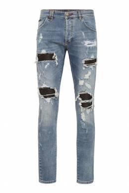 Светлые джинсы с заплатками Destroyed Philipp Plein 1795136783