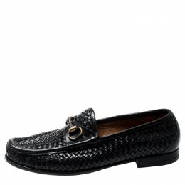 Gucci Black Woven Leather Hannover Horsebit Loafers Size 40 199673