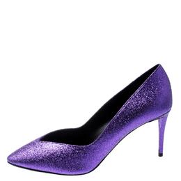 Giuseppe Zanotti Design Purple Glitter Olinda V Throat Pumps Size 38.5 199663