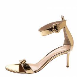 Gianvito Rossi Gold Metallic Leather Portofino Ankle Strap Sandals 38 199800