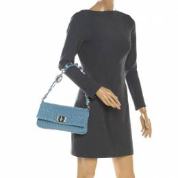 Miu Miu Light Blue Matelasse Leather Crystal Shoulder Bag 199746