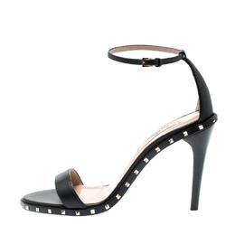 Valentino Black Leather Soul Rockstud Ankle Strap Sandals Size 36 201523