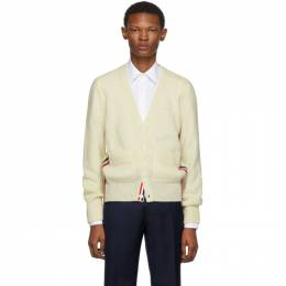 Thom Browne Off-White Wool Stripe Relaxed Fit V-Neck Cardigan 192381M20001004GB
