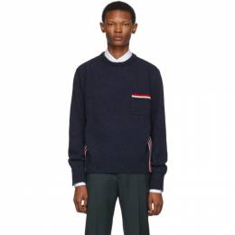 Thom Browne Navy Relaxed Fit Intarsia Stripe Sweater MKA240A-01085