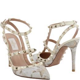Valentino White Leather Crystal Embellished Rockstud Sandals Size 41 199943