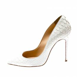 Christian Louboutin White Python Leather So Kate Pointed Toe Pumps Size 35.5 201534