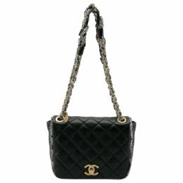 Chanel Black Leather and Tweed Trim CC Turnlock Flap Bag 201827