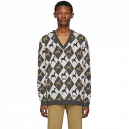 Gucci Beige and Grey Horse Jacquard Knit Sweater 192451M20100503GB