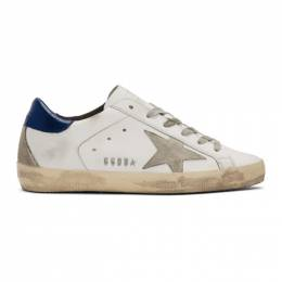 Golden Goose White and Navy Superstar Sneakers GCOWS590.A7