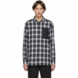 Neil Barrett Black and White Plaid Pocket Shirt PBCM 1218A M021C