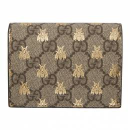 Gucci Beige GG Supreme Bees Wallet 192451F04000101GB