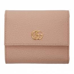 Gucci Pink Small GG Marmont Trifold Wallet 192451F04000401GB