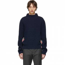 Thom Browne Navy Boat Neck Sweater MKA249A-01085