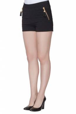 Moschino Couture Black Quilted Tassel Zip Detail Shorts S