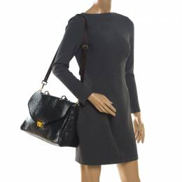 Mulberry Black Patent Leather Neely Top Handle Bag 203413