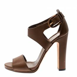 Gucci Brown Leather Bamboo Buckle Ankle Strap Sandals Size 39 203433