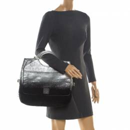 Marc Jacobs Black/Silver Ombre Leather Top Handle Bag 203632
