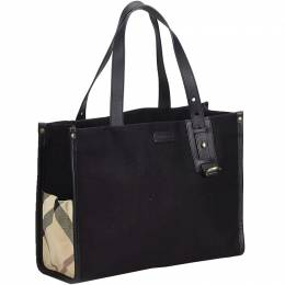 Burberry Black Canvas Tote Bag 196882