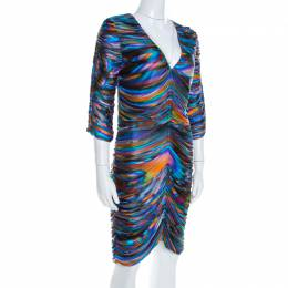 Matthew Williamson Multicolor Printed Ruched Jersey Long Sleeve Dress M 199991