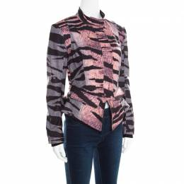 MCQ by Alexander McQueen Multicolor Houndstooth and Animal Printed Angular Peplum Jacket S 234990