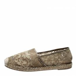 Valentino Beige Lace And Leather Espadrilles Size 39 200106