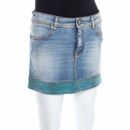 Just Cavalli Indigo Light Wash Denim Leopard Print Trim Mini Skirt M 200071