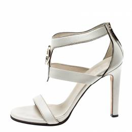 Gucci White Leather Saddle Soft Lux Ankle Cuff Sandals Size 40 200022