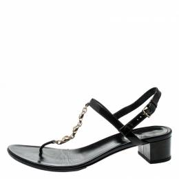 Gucci Metallic Olive Green Patent Leather Chain Strap Thong Sandals Size 37.5 200019