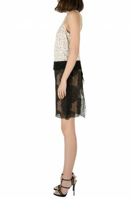 Vera Wang Collection White and Black Abstract Lace Sleeveless Dress S 203605