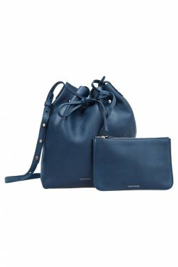Mansur Gavriel Navy Blue Leather Bucket Bag 203971