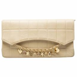 Chanel Beige Chocolate Bar Leather Lucky Charms Chain Bag 203669