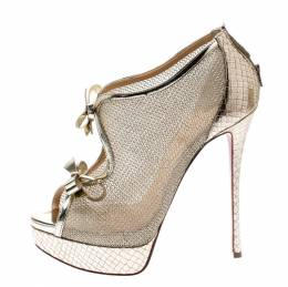 Christian Louboutin Metallic Gold Leather And Mesh Empiralta Bow Open Toe Ankle Booties Size 39 203404