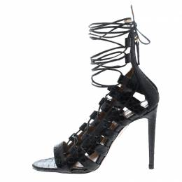 Aquazzura Black Python Leather Amazon Lace Up Cage Sandals Size 36 200436