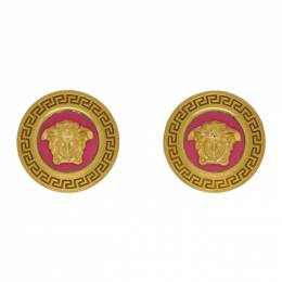 Versace Pink and Gold Small Medusa Coin Earrings DG2G549 DJMS